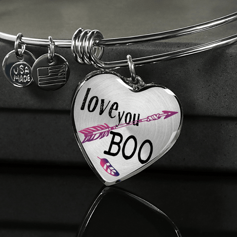 Image of Love You Boo Couples and BFF Heart Necklace and Bracelet Optional Inscription