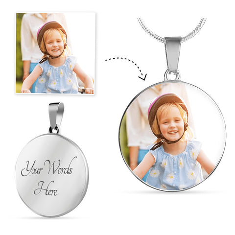 Image of Round Silver Photo Necklace Add Inscription