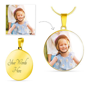 Round Gold Photo Necklace Add Inscription