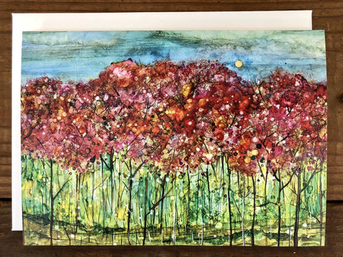Image of Spring Forest : Mixed Media Landscape Painting, Prints and Cards