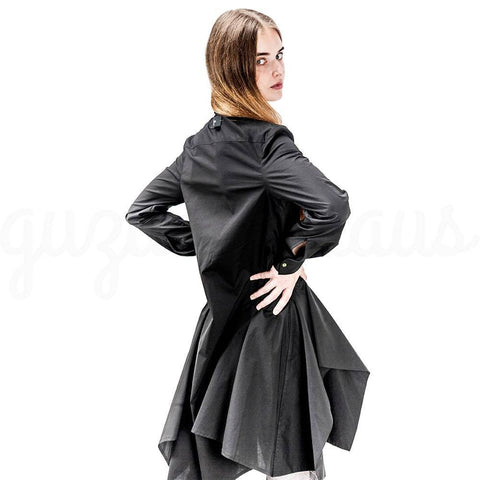 dark gray  asymmetric cotton jacket back