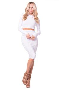 slim fit top and skirt set white