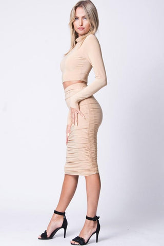 Image of Slim Fit Top and Skirt Set
