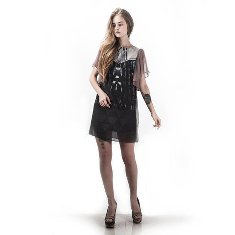 Short Dress with Sheer Sleeves and Art Print