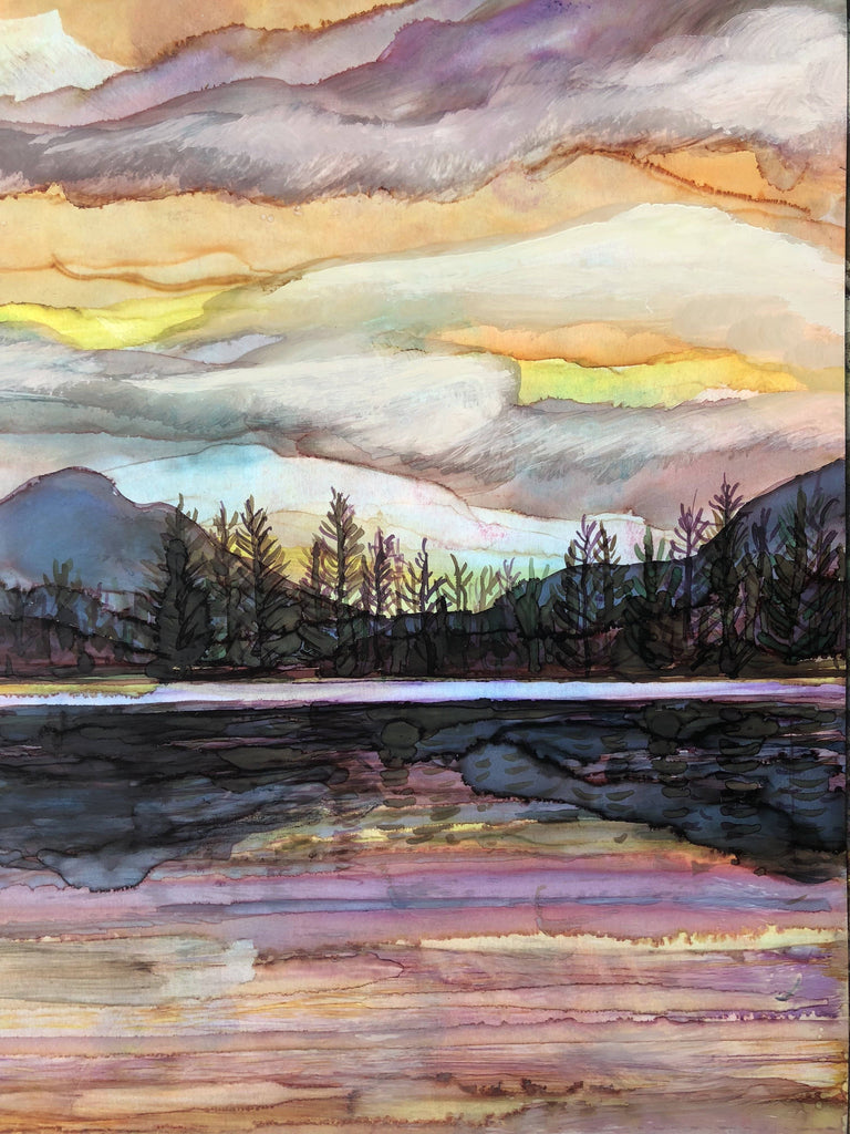 Lake Sunset Landscape Painting : Art Prints and Greeting Cards