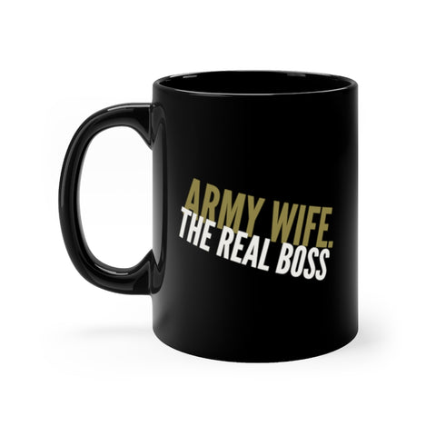 Image of army wife real boss black mug
