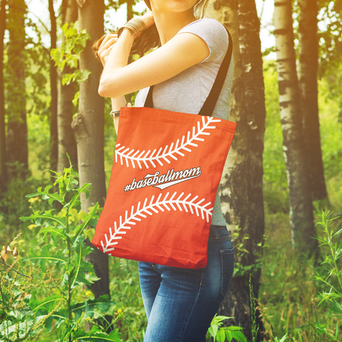 Image of baseball mom orange tote bag