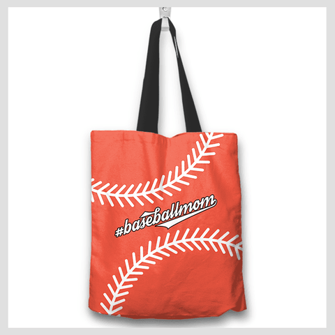 baseball mom orange totebag