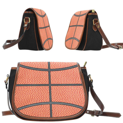 Image of basketball crossover saddle bag purse side view