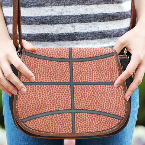Basketball Canvas and Leather Saddle Bag Purse