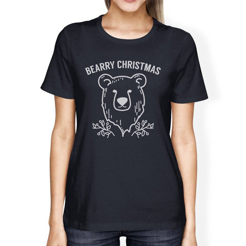 Bearry Christmas Bear Womens Navy Shirt