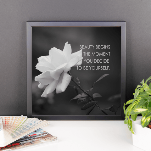 Image of Your Beauty Begins Inspirational Poster Framed