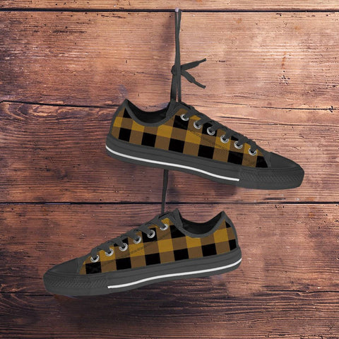 Gold and Black Buffalo Plaid Low Top Shoes Unisex Black or White Sole