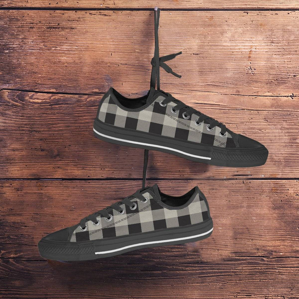 Buffalo Plaid Black White Shoes Ladies Sneakers
