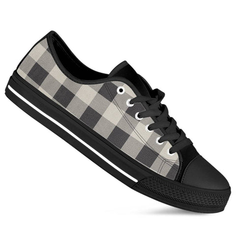 Buffalo Plaid Black White Women's Low Top Shoes