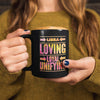 woman holding libra astrology horoscope quote black mug
