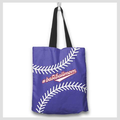 Baseball Mom Blue Tote Bag