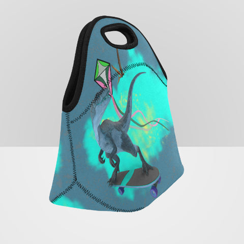Image of dinosaur neoprene insulated zip lunch bag