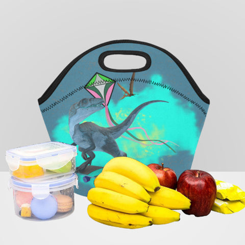 Image of dinosaur insulated kids lunch bag with zipper