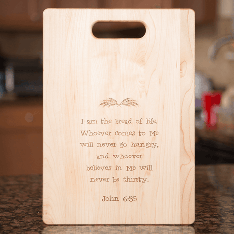 Image of Christian Bread of Life Wooden Cutting Board Personalized