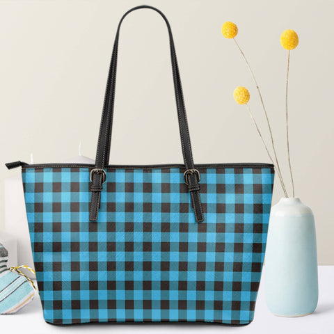 Image of blue buffalo plaid vegan leather tote with zipper