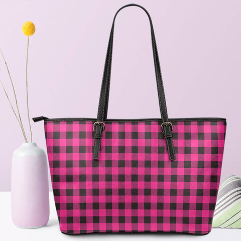 Image of hot pink buffalo plaid vegan leather tote