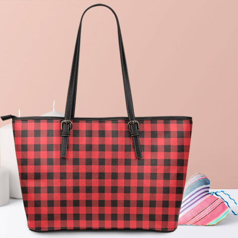Image of red buffalo plaid vegan leather tote with zipper