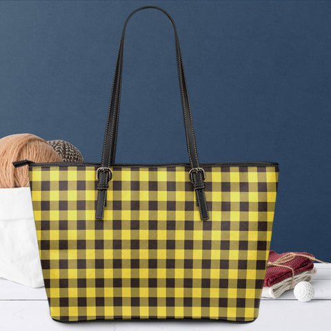 Image of yellow buffalo plaid vegan leather tote with zipper