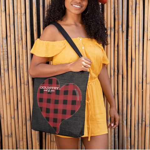country heart buffalo check tote bag