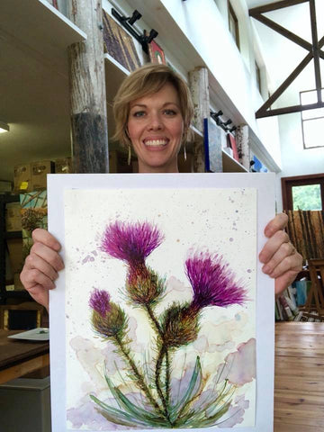 Image of Three Thistles Painting : Art Prints and Greeting Cards