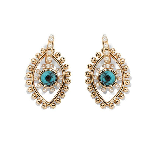 Image of gold blue and pearl pierced earrings