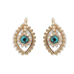 gold blue and pearl pierced earrings