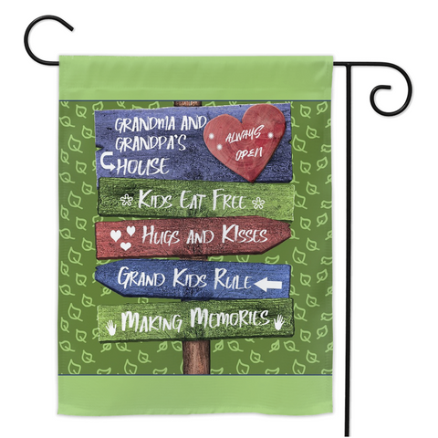 Grandkids Rule Grandparents Garden Flag