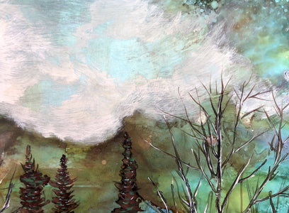 Moody Sky landscape mixed media painting