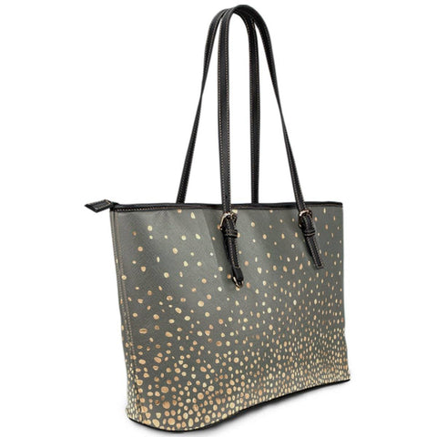 Image of Charcoal and Gold Vegan Leather Tote