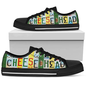 Cheese Head Women's Low Top Shoes Black Soles