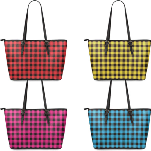 Buffalo Plaid Vegan Leather Large Tote 4 Colors