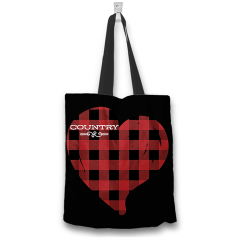 Image of I Love Country Red Plaid Heart Totebag