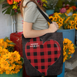 personalized country heart tote