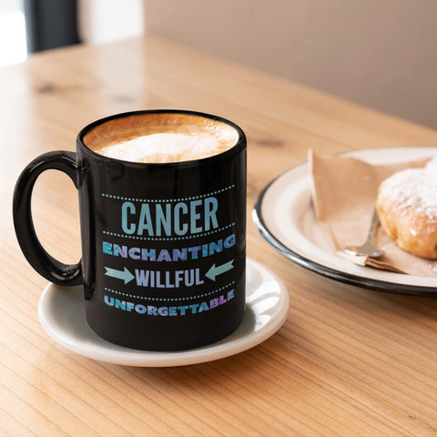cancer astrology traits horoscope black coffee mug