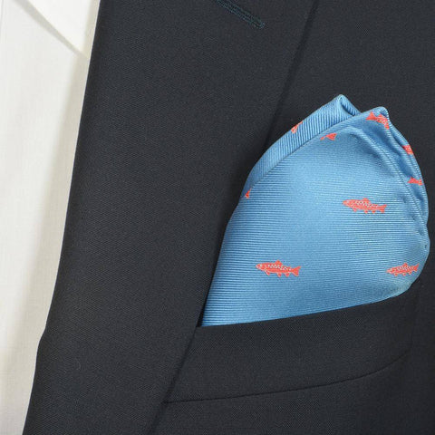 Trout Pocket Square - Light Blue