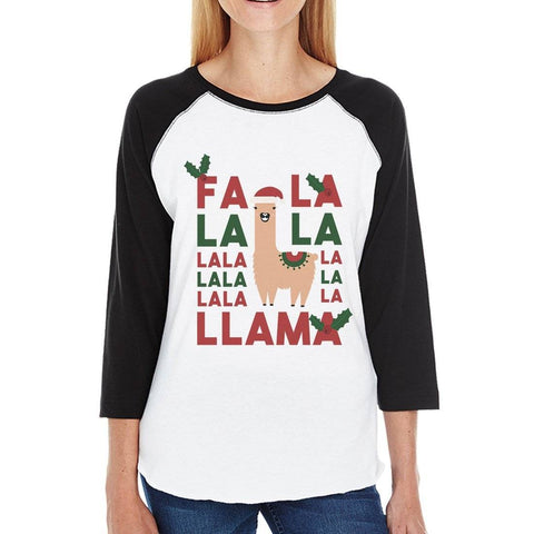 Image of Falala Llama Womens Baseball Tee Christmas Raglan Tee Gift For Her