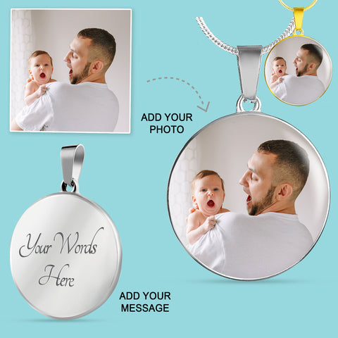 Image of Personalized Round Photo Necklace