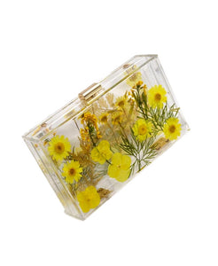 Yellow Floral Imprinted Acrylic Clutch
