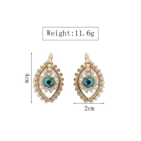 Image of size guide gold blue and pearl pierced earrings