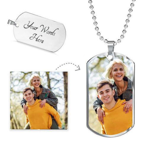 Image of photo dog tag pendant necklace add names