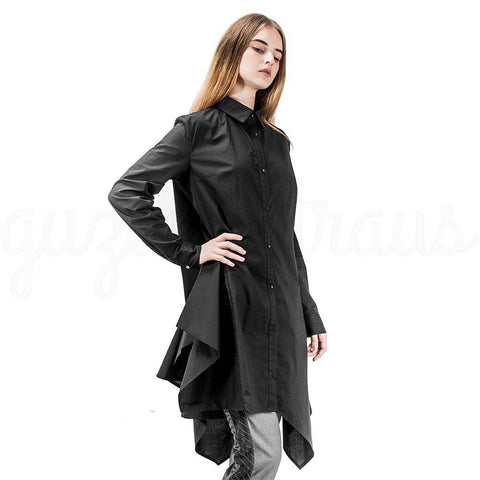 dark gray  asymmetric cotton jacket