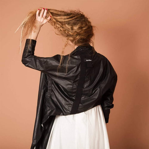 Image of womens modern bomber style jacket back view