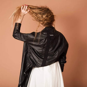 womens modern bomber style jacket back view