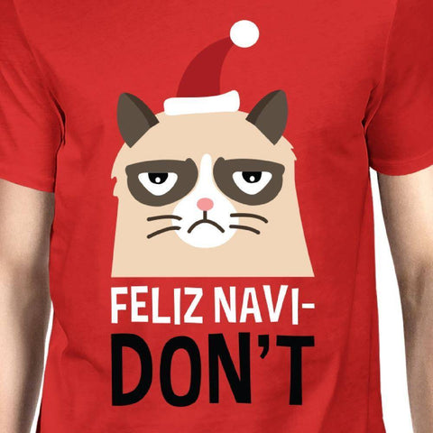 Image of Feliz Navidon't Red Men's T-shirt Christmas Gift For Cat Lovers